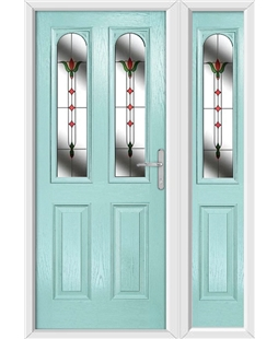 The Aberdeen Composite Door in Blue (Duck Egg) with Fleur and matching Side Panel