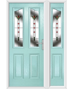 The Birmingham Composite Door in Blue (Duck Egg) with Fleur and matching Side Panel