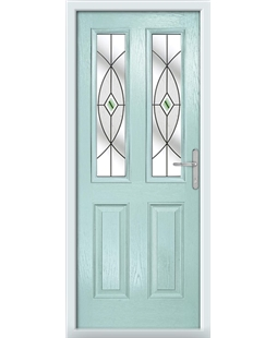 The Cardiff Composite Door in Blue (Duck Egg) with Green Fusion Ellipse