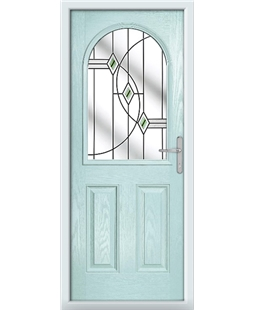 The Edinburgh Composite Door in Blue (Duck Egg) with Green Fusion Ellipse