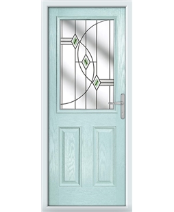 The Farnborough Composite Door in Blue (Duck Egg) with Green Fusion Ellipse