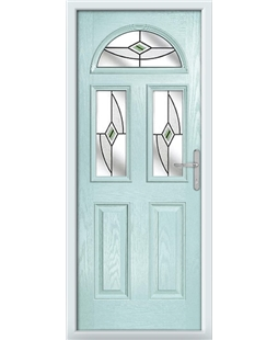 The Glasgow Composite Door in Blue (Duck Egg) with Green Fusion Ellipse