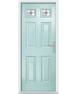 The Ipswich Composite Door in Blue (Duck Egg) with Green Fusion Ellipse