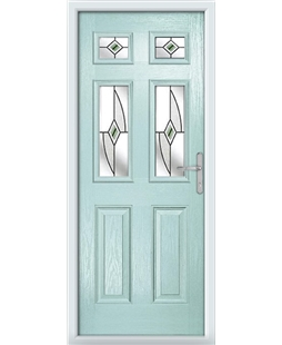 The Oxford Composite Door in Blue (Duck Egg) with Green Fusion Ellipse