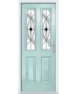 The Aberdeen Composite Door in Blue (Duck Egg) with Black Fusion Ellipse