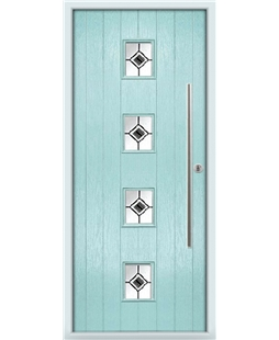 The Leicester Composite Door in Blue (Duck Egg) with Black Fusion Ellipse