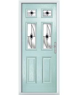 The Oxford Composite Door in Blue (Duck Egg) with Black Fusion Ellipse