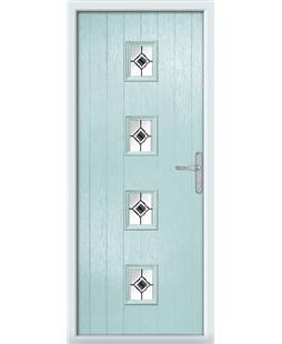 The Uttoxeter Composite Door in Blue (Duck Egg) with Black Fusion Ellipse