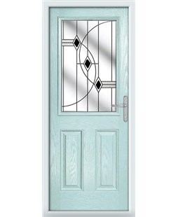 The Farnborough Composite Door in Blue (Duck Egg) with Black Fusion Ellipse