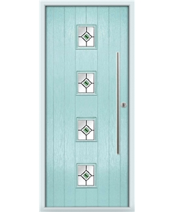 The Leicester Composite Door in Blue (Duck Egg) with Green Fusion Ellipse