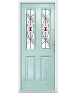 The Aberdeen Composite Door in Blue (Duck Egg) with Red Fusion Ellipse