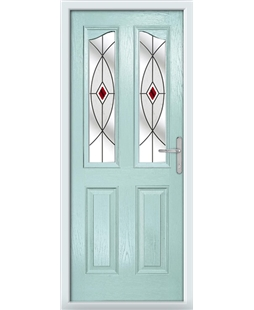 The Birmingham Composite Door in Blue (Duck Egg) with Red Fusion Ellipse