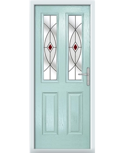 The Cardiff Composite Door in Blue (Duck Egg) with Red Fusion Ellipse