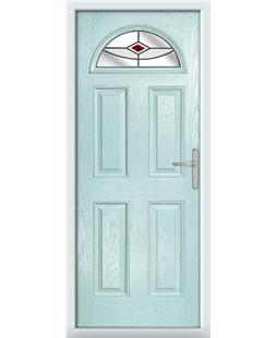 The Derby Composite Door in Blue (Duck Egg) with Red Fusion Ellipse