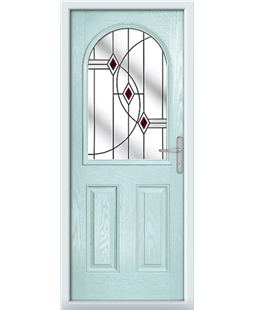The Edinburgh Composite Door in Blue (Duck Egg) with Red Fusion Ellipse