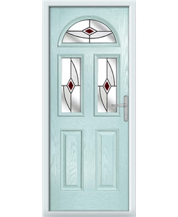 The Glasgow Composite Door in Blue (Duck Egg) with Red Fusion Ellipse
