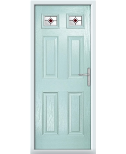 The Ipswich Composite Door in Blue (Duck Egg) with Red Fusion Ellipse