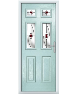 The Oxford Composite Door in Blue (Duck Egg) with Red Fusion Ellipse