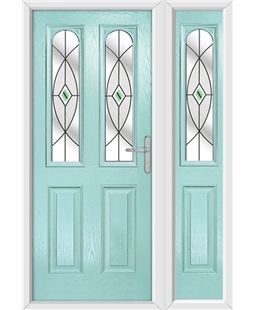 The Aberdeen Composite Door in Blue (Duck Egg) with Green Fusion Ellipse and matching Side Panel