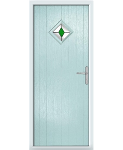 The Reading Composite Door in Blue (Duck Egg) with Green Diamonds