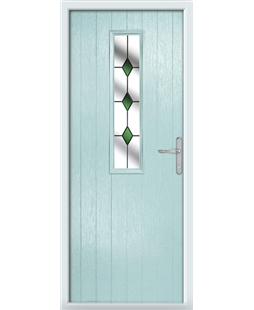 The Sheffield Composite Door in Blue (Duck Egg) with Green Diamonds