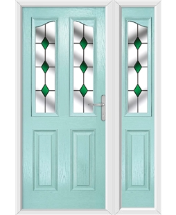 The Birmingham Composite Door in Blue (Duck Egg) with Green Diamonds and matching Side Panel