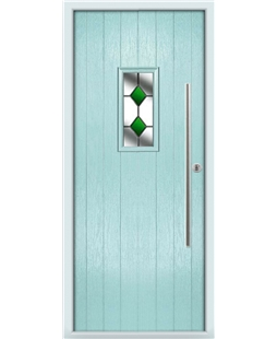 The Zetland Composite Door in Blue (Duck Egg) with Green Diamonds