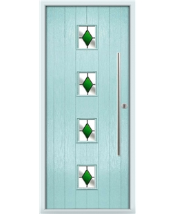 The Leicester Composite Door in Blue (Duck Egg) with Green Diamonds
