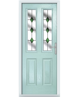The Cardiff Composite Door in Blue (Duck Egg) with Green Diamonds