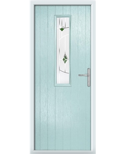 The Sheffield Composite Door in Blue (Duck Egg) with Green Murano