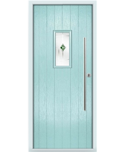 The Zetland Composite Door in Blue (Duck Egg) with Green Murano