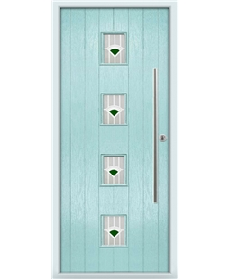 The Leicester Composite Door in Blue (Duck Egg) with Green Murano