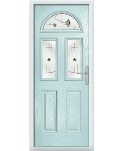 The Glasgow Composite Door in Blue (Duck Egg) with Green Murano
