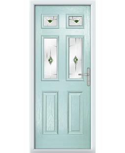 The Oxford Composite Door in Blue (Duck Egg) with Green Murano
