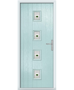 The Uttoxeter Composite Door in Blue (Duck Egg) with Green Murano
