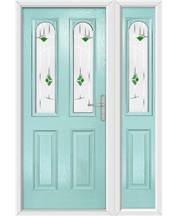 The Aberdeen Composite Door in Blue (Duck Egg) with Green Murano and matching Side Panel