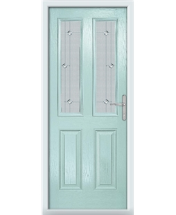 The Cardiff Composite Door in Blue (Duck Egg) with Jewel Glazing