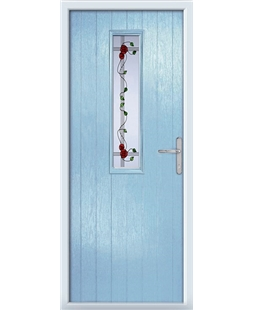 The Sheffield Composite Door in Blue (Duck Egg) with Mackintosh Rose