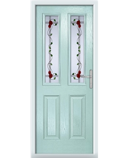 The Cardiff Composite Door in Blue (Duck Egg) with Mackintosh Rose