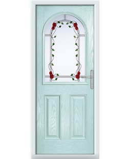 The Edinburgh Composite Door in Blue (duck egg) with Mackintosh Rose