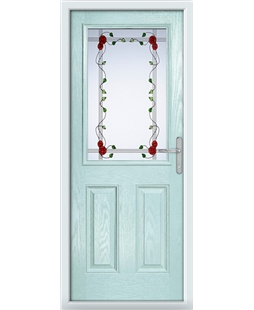 The Farnborough Composite Door in Blue (Duck Egg) with Mackintosh Rose