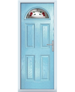 The Derby Composite Door in Blue (Duck Egg) with Mackintosh Rose