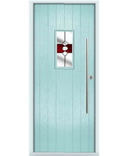 The Zetland Composite Door in Blue (Duck Egg) with Red Crystal Bohemia