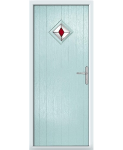 The Reading Composite Door in Blue (Duck Egg) with Red Diamonds