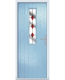 The Sheffield Composite Door in Blue (Duck Egg) with Red Diamonds