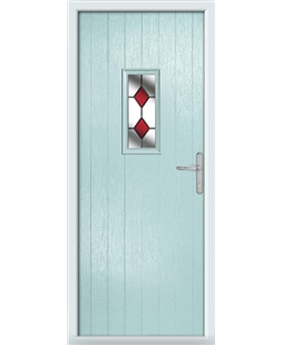 The Taunton Composite Door in Blue (Duck Egg) with Red Diamonds