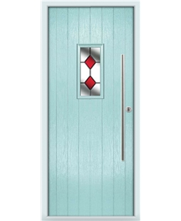 The Zetland Composite Door in Blue (Duck Egg) with Red Diamonds