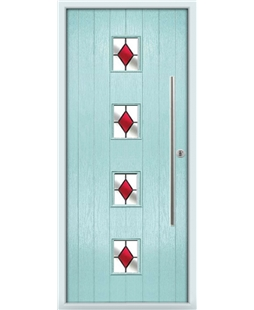 The Leicester Composite Door in Blue (Duck Egg) with Red Diamonds