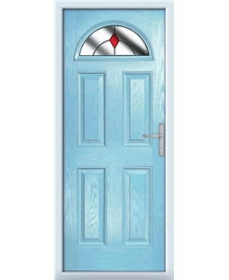 The Derby Composite Door in Blue (Duck Egg) with Red Diamonds