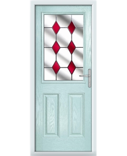 The Farnborough Composite Door in Blue (Duck Egg) with Red Diamonds